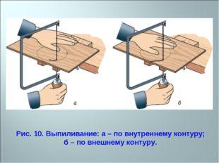 Рис. 10. Выпиливание: а – по внутреннему контуру; б – по внешнему контуру.
