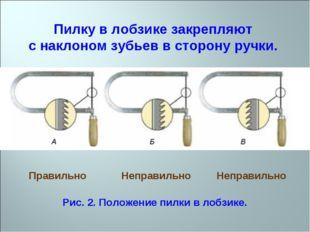 Пилку в лобзике закрепляют с наклоном зубьев в сторону ручки. Правильно Непра