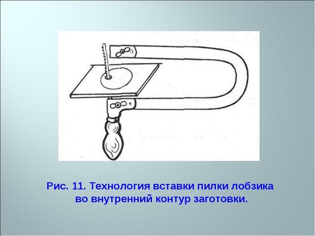 Рис. 11. Технология вставки пилки лобзика во внутренний контур заготовки.