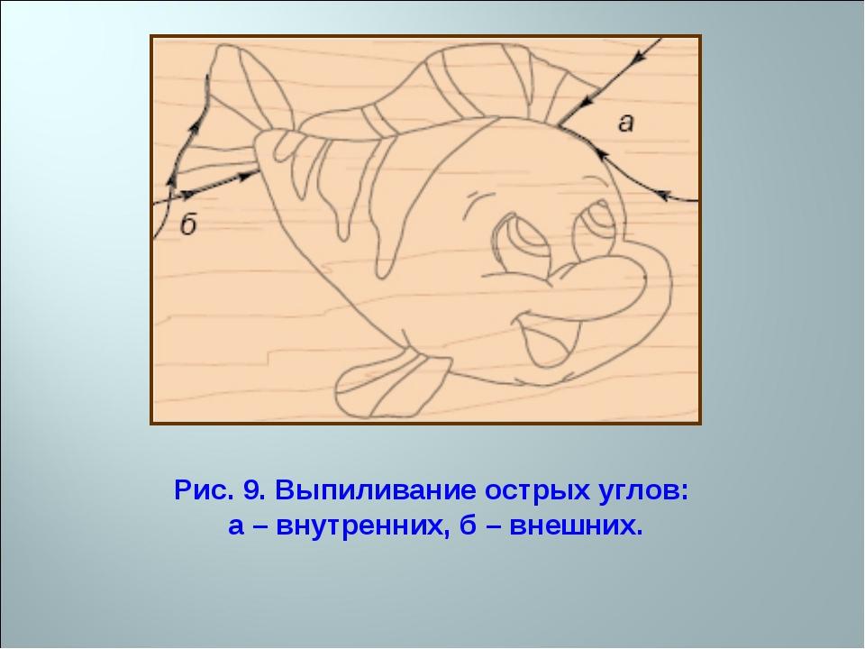 Рис. 9. Выпиливание острых углов: а – внутренних, б – внешних.
