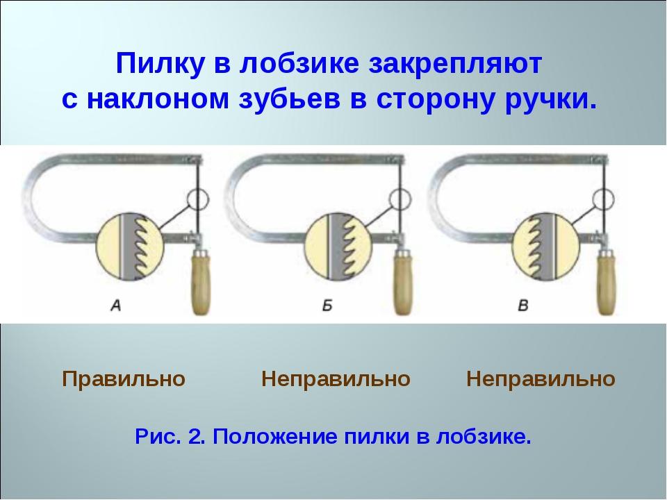 Пилку в лобзике закрепляют с наклоном зубьев в сторону ручки. Правильно Непра...