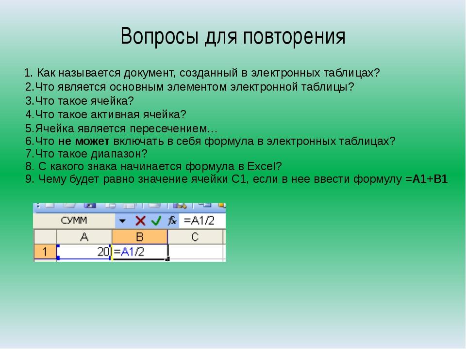 Вопросы для повторения 1. Как называется документ, созданный в электронных та...