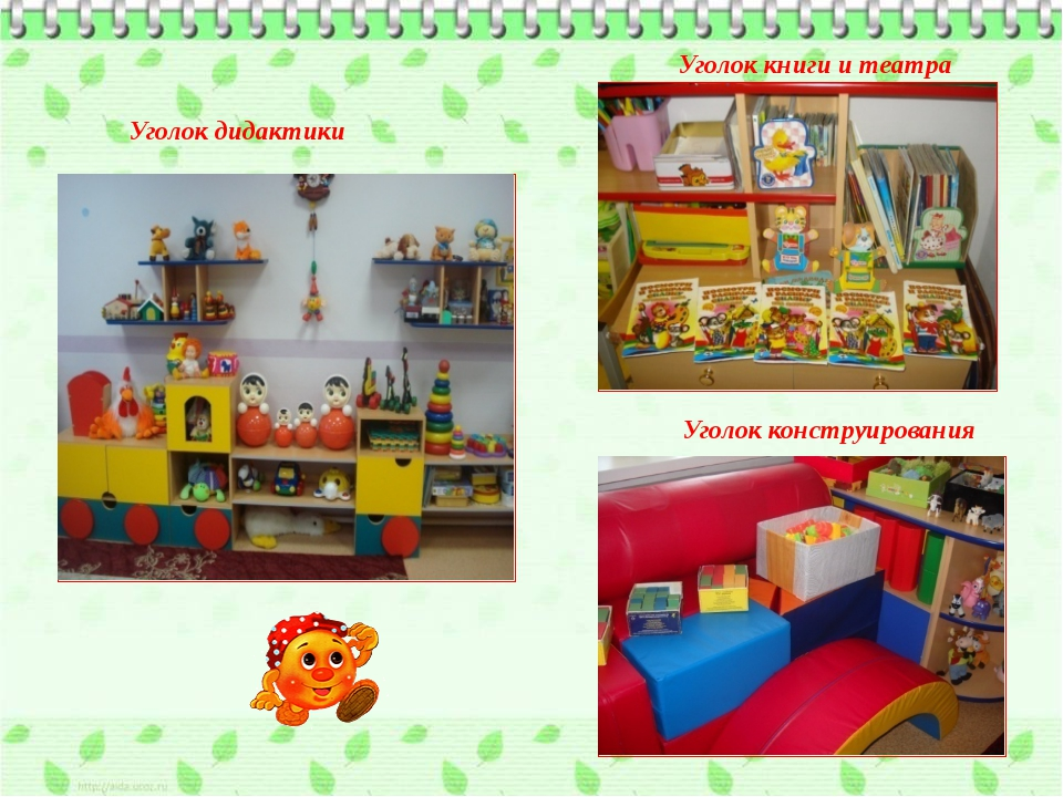 Уголок дидактики Уголок книги и театра Уголок конструирования