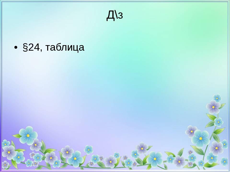 Д\з §24, таблица