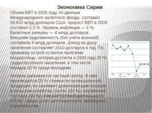 Экономика Сирии Объём ВВП в 2005 году, по данным Международного валютного фон