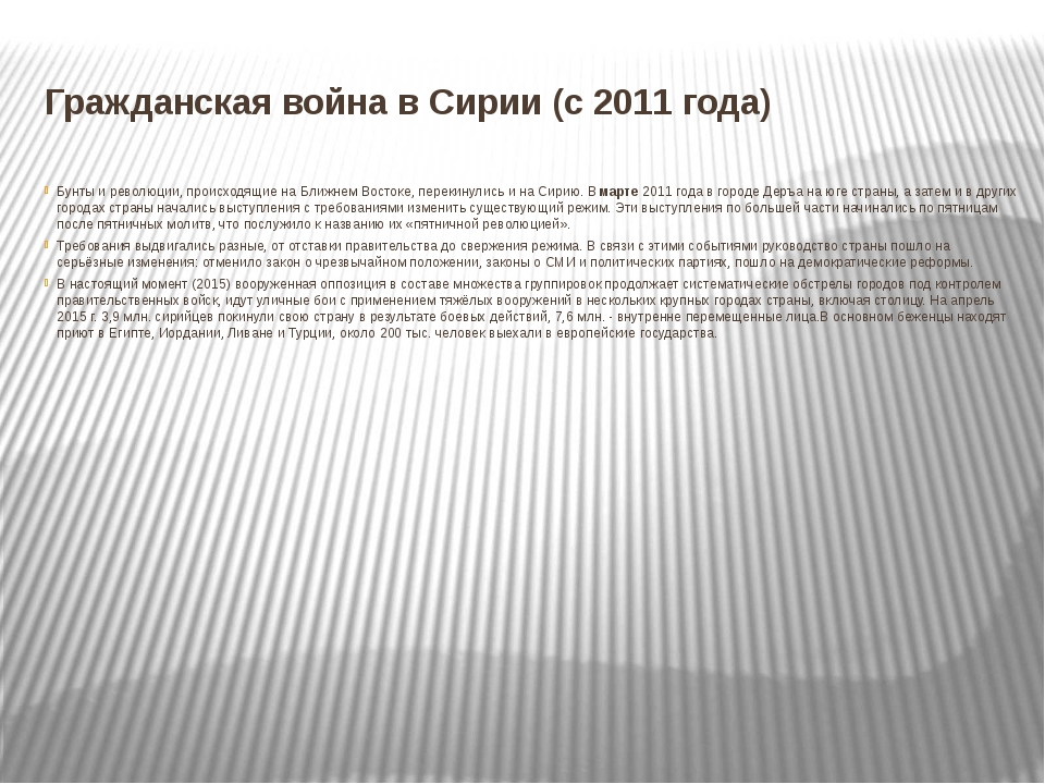 Гражданская война в Сирии (с 2011 года) Бунты и революции, происходящие на Бл...