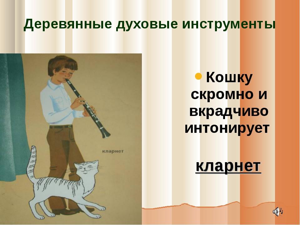 Деревянные духовые инструменты Кошку скромно и вкрадчиво интонирует кларнет