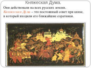 Княжеская Дума. Они действовали на всех русских землях. Княжеская Дума – это