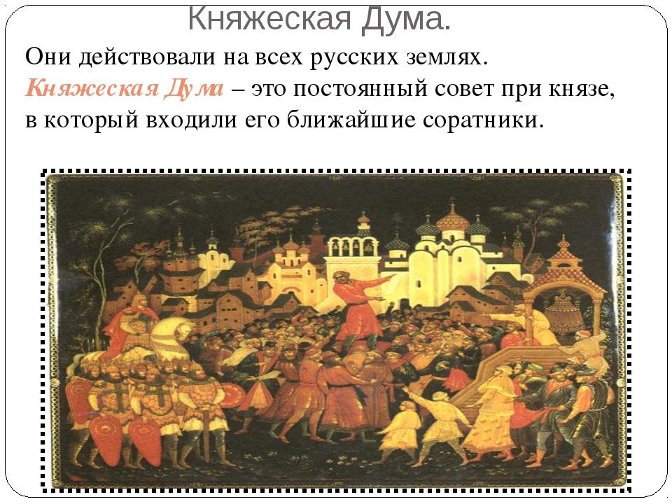 Княжеская Дума. Они действовали на всех русских землях. Княжеская Дума – это...