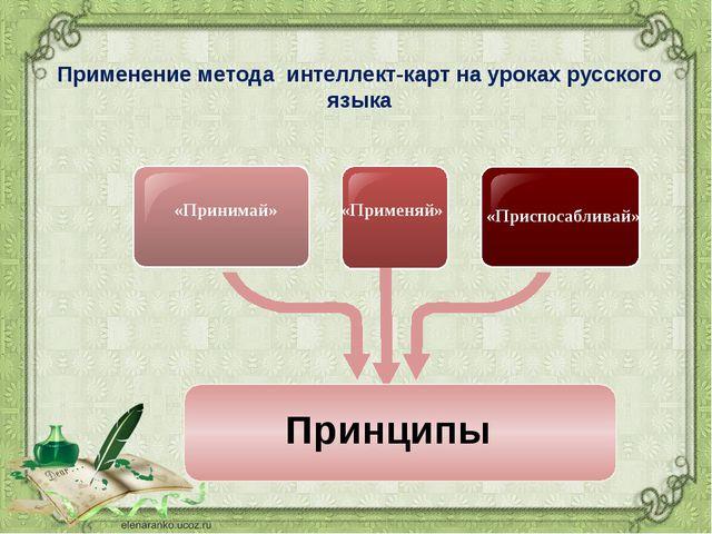 Применение метода интеллект-карт на уроках русского языка «Принимай» «Применя...