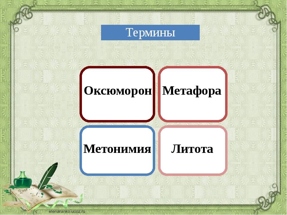 Оксюморон Метафора Метонимия Литота Термины