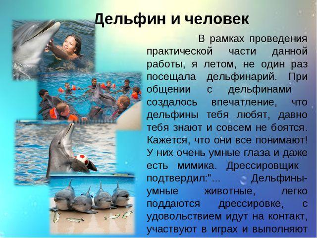Дельфин и человек В рамках проведения практической части данной работы, я лет...