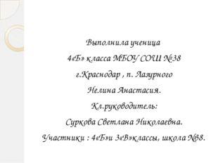 Выполнила ученица 4«Б» класса МБОУ СОШ № 38 г.Краснодар , п. Лазурного Нелин