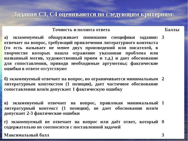 Задания СЗ, С4 оцениваются по следующим критериям: