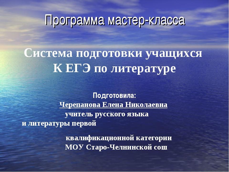 Программа мастер-класса Система подготовки учащихся К ЕГЭ по литературе Подго...