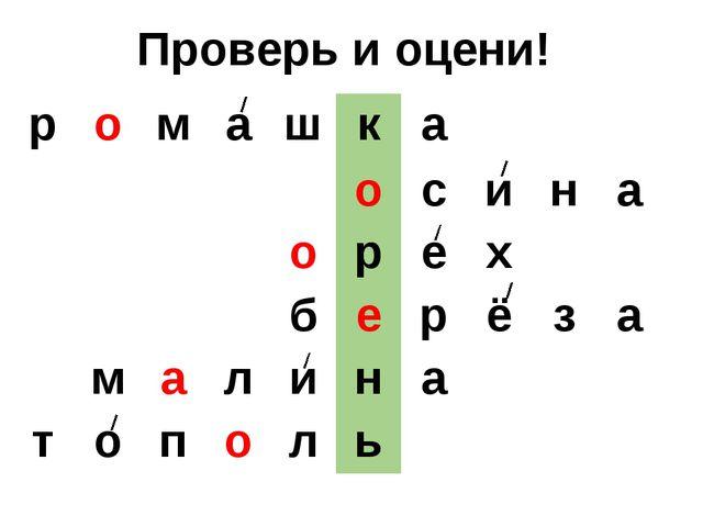 Проверь и оцени! р о м а ш к а о с и н а о р е х б е р ё з а м а л и н а т о...