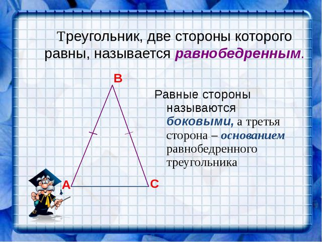 Треугольник, две стороны которого равны, называется равнобедренным. Равные ст...
