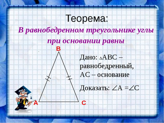 Теорема: В равнобедренном треугольнике углы при основании равны Дано: АВС –...