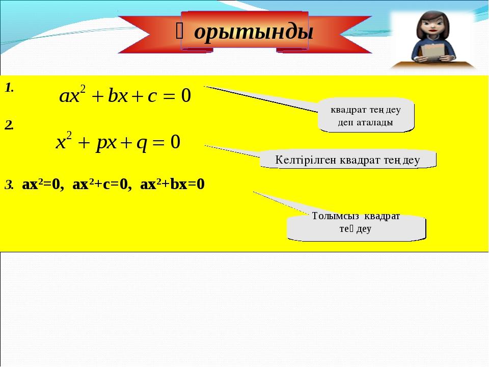 1. 2. 3. ах2=0, ax2+c=0, ax2+bx=0 квадрат теңдеу деп аталады Келтірілген квад...