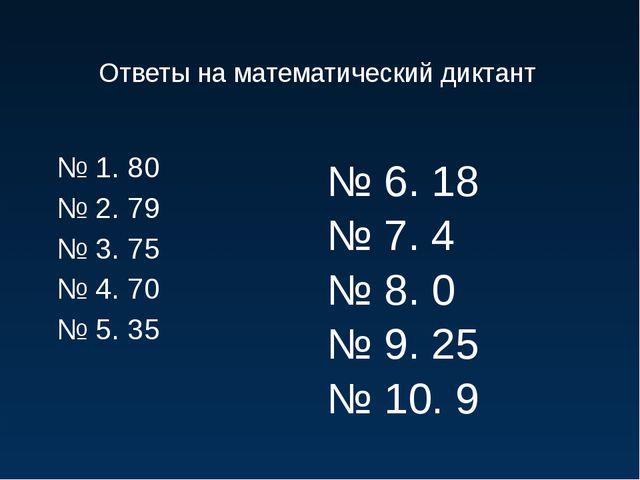 Ответы на математический диктант № 1. 80 № 2. 79 № 3. 75 № 4. 70 № 5. 35 № 6....