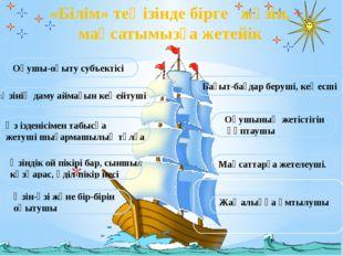 «Білім» теңізінде бірге жүзіп, мақсатымызға жетейік Оқушының жетістігін қ