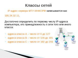 IP-адрес сервера МТУ-ИНФОРМ записывается как 195.34.32.11. Достаточно опреде