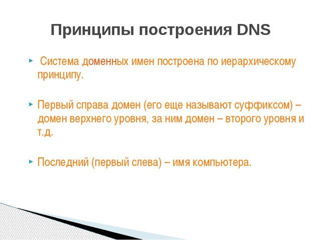 Система доменных имен построена по иерархическому принципу. Первый справа до...