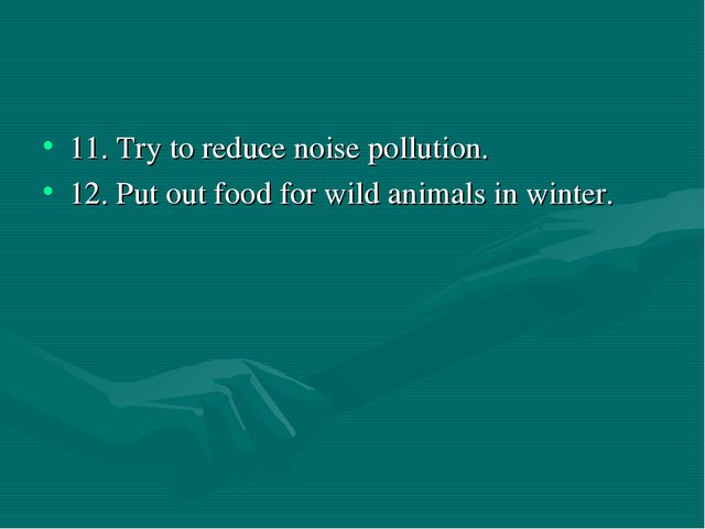 11. Try to reduce noise pollution. 12. Put out food for wild animals in winter.