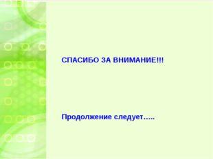 СПАСИБО ЗА ВНИМАНИЕ!!! Продолжение следует…..