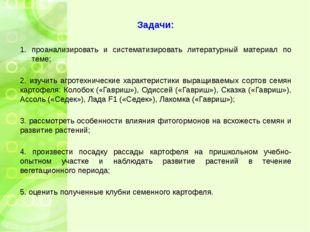 Задачи: проанализировать и систематизировать литературный материал по теме; 2