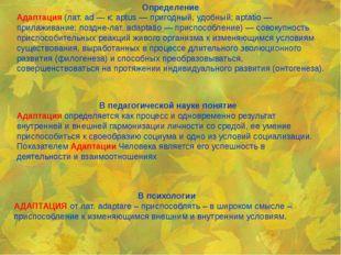 Определение Адаптация(лат. ad — к; aptus — пригодный, удобный; aptatio —