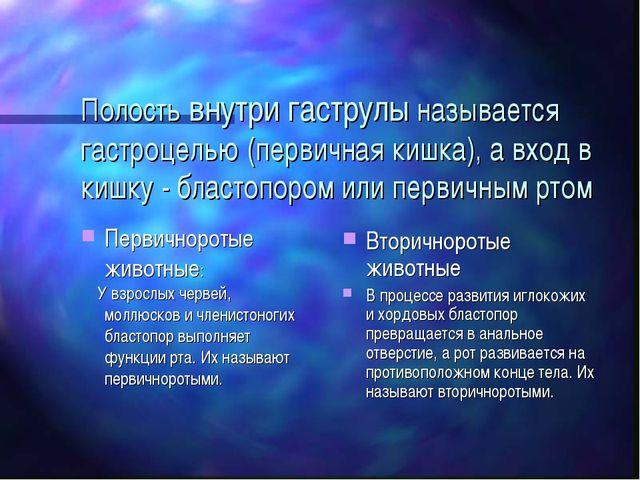Полость внутри гаструлы называется гастроцелью (первичная кишка), а вход в ки...