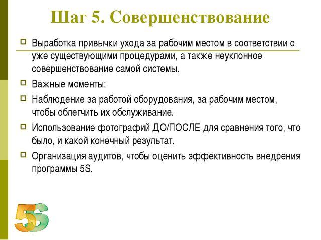 Шаг 5. Совершенствование Выработка привычки ухода за рабочим местом в соответ...