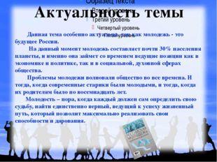 Данная тема особенно актуальна, так как молодежь - это будущее России. На да