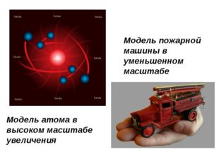 Модель атома в высоком масштабе увеличения Модель пожарной машины в уменьшенн
