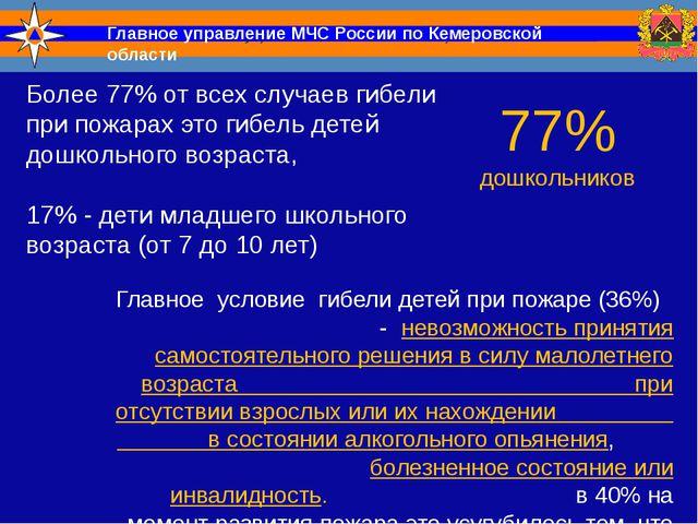 Главное управление МЧС России по Кемеровской области Более 77% от всех случае...