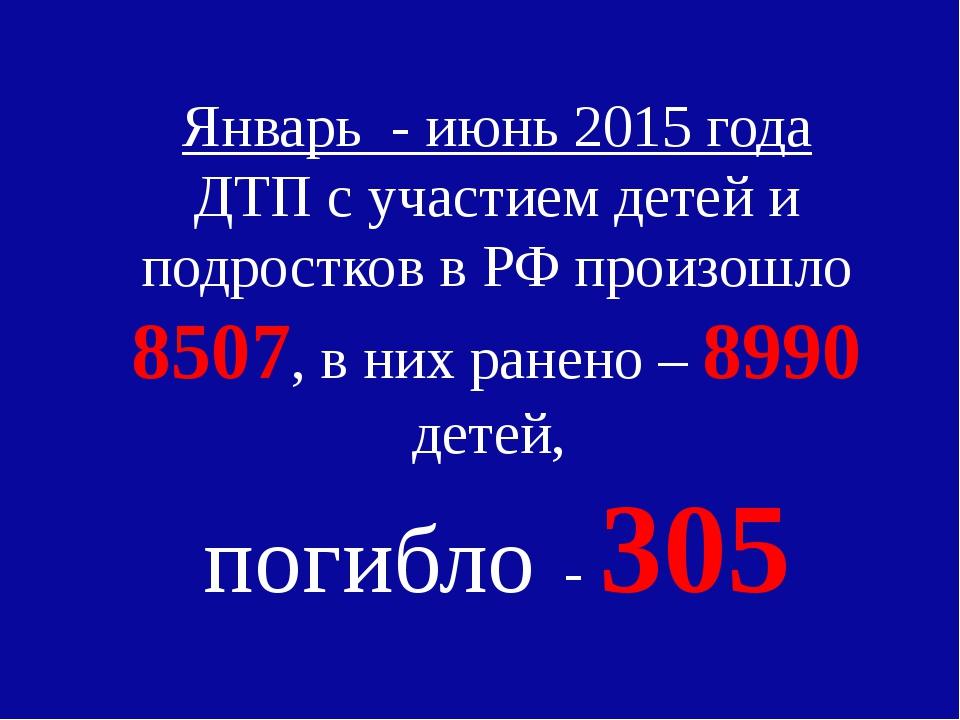 Январь - июнь 2015 года ДТП с участием детей и подростков в РФ произошло 8507...