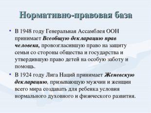 Нормативно-правовая база В 1948 году Генеральная Ассамблея ООН принимает Всео