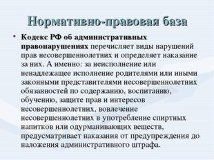 Нормативно-правовая база Кодекс РФ об административных правонарушениях перечи