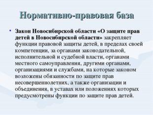 Нормативно-правовая база Закон Новосибирской области «О защите прав детей в Н