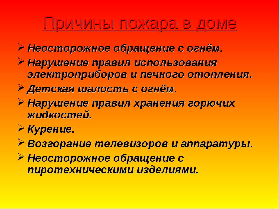 Причины пожара в доме Неосторожное обращение с огнём. Нарушение правил исполь...
