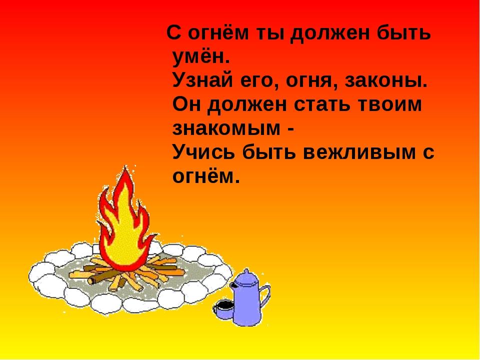 С огнём ты должен быть умён. Узнай его, огня, законы. Он должен стать твоим...