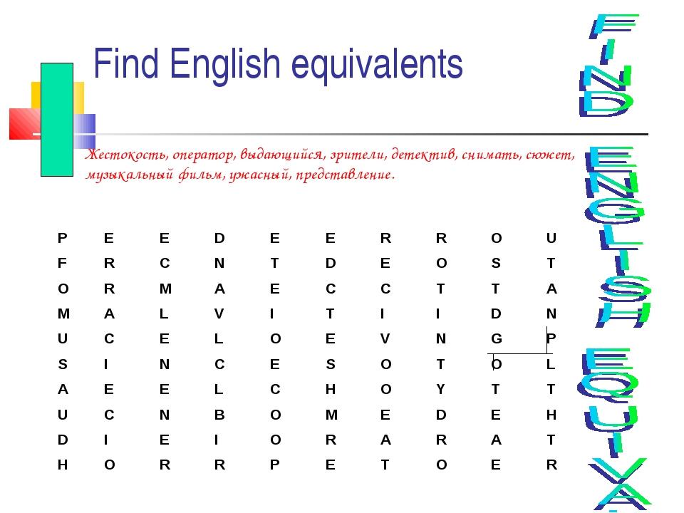 Find English equivalents Жестокость, оператор, выдающийся, зрители, детектив,...