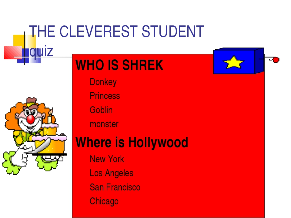 THE CLEVEREST STUDENT quiz WHO IS SHREK Donkey Princess Goblin monster Where...