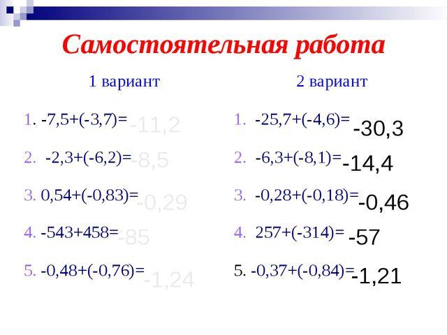 Самостоятельная работа -11,2 -8,5 -0,29 -85 -1,24 -30,3 -14,4 -0,46 -57 -1,21...