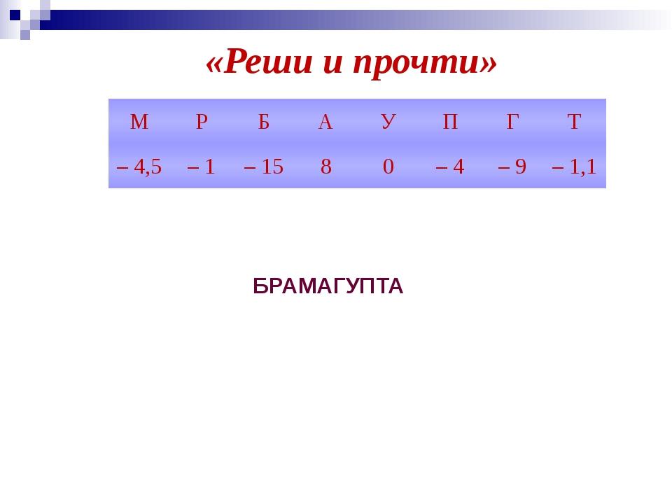 «Реши и прочти» БРАМАГУПТА М Р Б А У П Г Т – 4,5 – 1 – 15 8 0 – 4 – 9 – 1,1