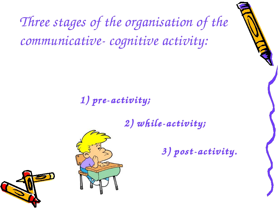 Three stages of the organisation of the communicative- cognitive activity: 1...