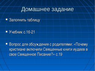 Домашнее задание Заполнить таблицу Учебник с.16-21 Вопрос для обсуждения с ро