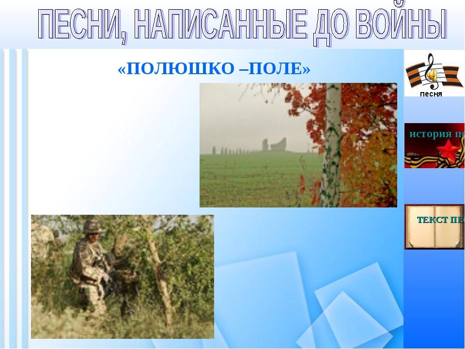 «ПОЛЮШКО –ПОЛЕ» песня история песни ТЕКСТ ПЕСНИ