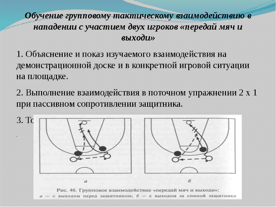 Обучение групповому тактическому взаимодействию в нападении с участием двух и...